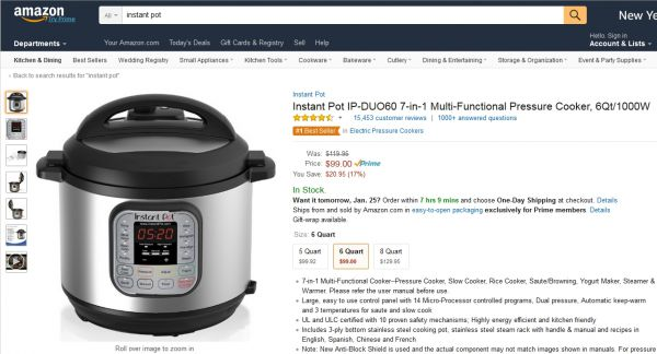 Bestseller bei Amazon: Instant Pot