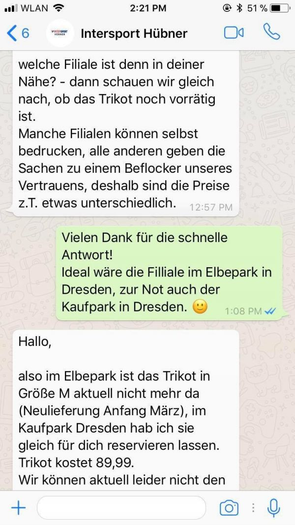 Intersport Hübner auf WhatsApp